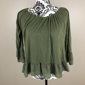 Sanctuary green long sleeved flowy shirt